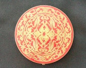 Large Red Enamel with Goldtone Design Powder Compact by Rex Fifth Avenue Flapjack or Pancake Style 50s