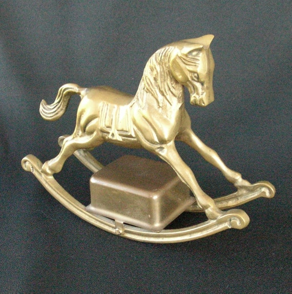 SALE Vintage Musical Brass Rocking Horse was 12.00 now 9.00