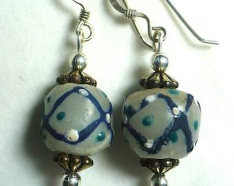 Karina's Vintage Antique 1850 Venetian Trade Bead for the African Trade Market Dangle Earrings