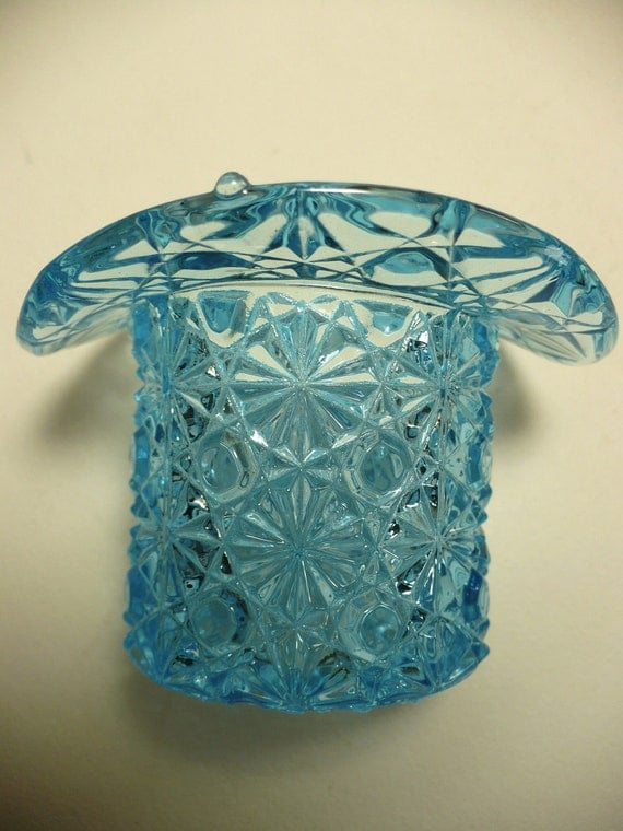Vintage Turquoise Blue Daisy Button Top Hat Depression Glass Toothpick Holder
