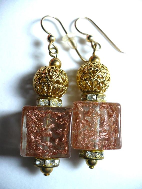 Karina's Murano Venetian Italian Glass 20mm Cube Fashion Dangle Earrings w. Vintage Monet