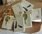 Vegetable gift tags-aubergine illustration-garlic print-artichoke art-The Botanical Concept-tag for gift wrapping-wedding tags-botanical art