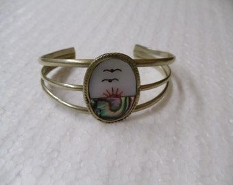 vintage  mother of pearl cuff bracelet