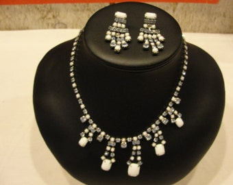 Vintage Weiss  Milkglass and rhinestone necklace and matching earrings