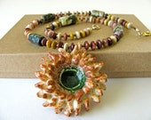 Sea Urchin Necklace Hand Sculpted Clay Pendant - TinaFrancisDesigns