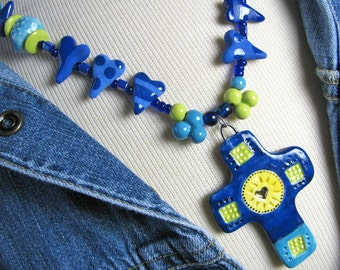 Deep Blue Cross Necklace Handmade Clay Beads