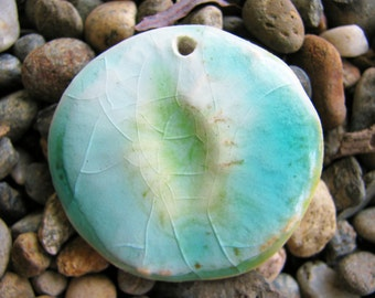 Blue Sea Pendant Hand Sculpted Clay