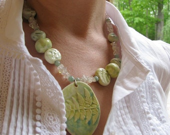 Crystal Fern Necklace Handmade Beads