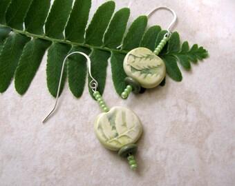 Fern Earrings Handmade Beads