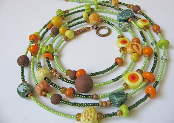 Autumn Colors Necklace Handmade Beads