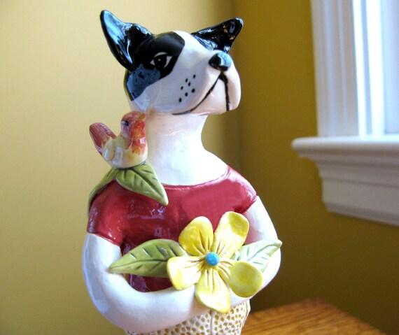 Bird Dog Sculpture Stoneware Clay