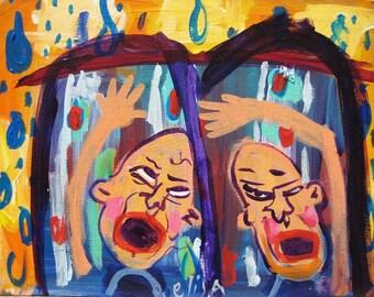 Rain Storm Outsider Art Brut Naive Primitive Elisa