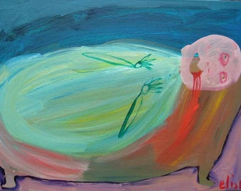 Bathtub Drowning Art Brut RAW Outsider Visionary Naive Primitive Elisa