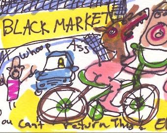 Black Market ORIGINAL Trading Card Outsider Art Brut RAW Visionary Naive Elisa ACEO