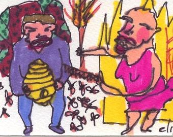 Messing Bee Hive ORIGINAL Trading Card Outsider Art Brut RAW Visionary Naive Elisa ACEO