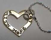 sterling silver Heart with faith, hope, love  pendant charm on a sp chain
