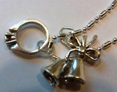 Sterling Silver Wedding Bells and Ring pendant on a S/P chain