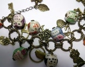 Free shipping Antique Brass adjustable bracelet with charms and porcelain owls