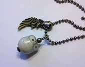 Porcelain gray Cutesy Owl with  on a 2.5mm 24 inch Antique Brass Ball Chain