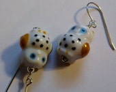Sterling Silver wired white with blue eyes porcelain owl earrings