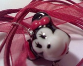 SS  girl mouse porcelain red 18 inch ribbon necklace