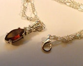Sale Sterling silver garnet with cz pendant charm on a sp 17 1/2 figaro necklace chain