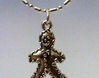 sterling silver gingerbread boy pendant charm on a sp chain