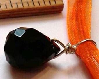 CLOSEOUT - Sterling Silver Wrapped Black Quartz Briolette Necklace