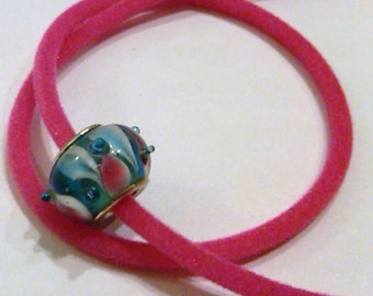 CLOSEOUT Glass Lampwork Bead Blue and Pink Swirl on Pink Velvet necklace cord