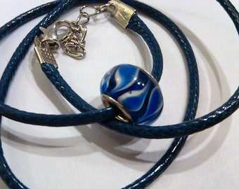 CLOSEOUT Blue and white swirled glass bead on a blue vinyl necklace cord