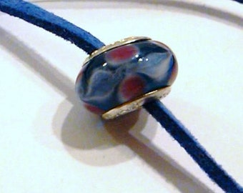 CLOSEOUT Blue and pink glass bead on a blue suede necklace cord