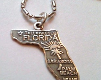 Sterling Silver Florida State Pendant on a Chain