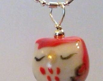 Red Sleepy Porcelain Owl bead on a S/P dot dash chain