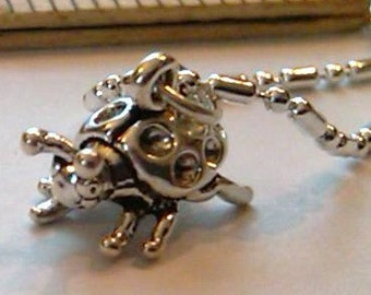 Sterling silver ladybug pendant charm on a sp  necklace chain