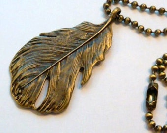 1 Antique Brass Feather Pendant on a ball chain
