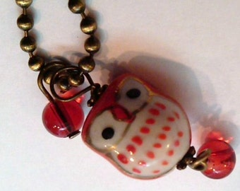 Porcelain Red Cutesy Owl with Red Glass Beads on a 2.5mm 24 inch Antique Brass Ball Chain