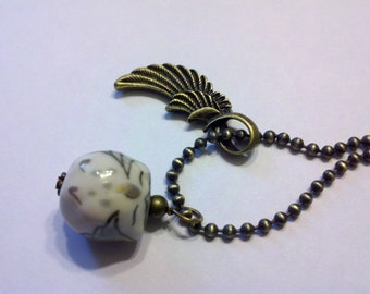 Porcelain gray sleppy Owl with  on a 2.5mm 24 inch Antique Brass Ball Chain
