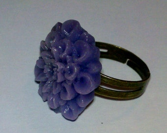 Closeout - Adjustable Antique Brass Finished Ring with Light Purple Flower Cabochon