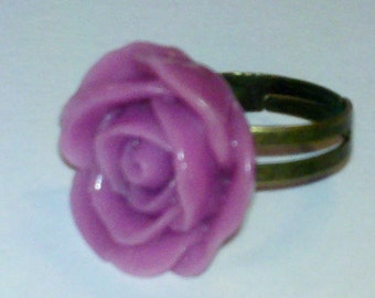 Closeout - Adjustable Antique Brass Finished Ring with Pink Rose Cabochon