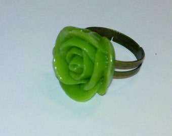 Closeout - Adjustable Antique Brass Finished Ring with Apple Green Rose Cabochon