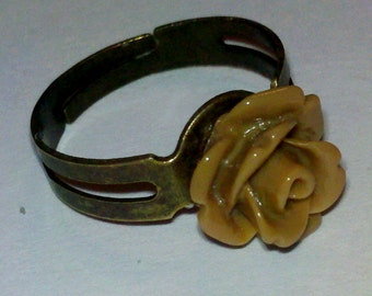 Closeout - Adjustable Antique Brass Finished Ring with Light Brown Small Rose Cabochon