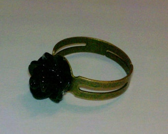 Closeout - Adjustable Antique Brass Finished Ring with Black Small Rose Cabochon