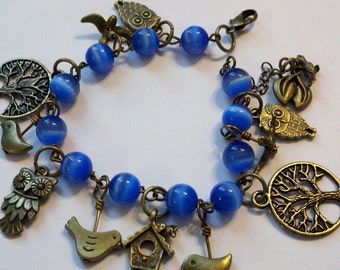 Closeout - Antiqued Brass Bird Bracelet with Blue Beads