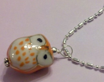 Orange Cutesy Porcelain Owl Pendant on a Chain
