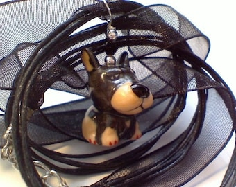 SS another adorable brown ceramic dog 18 inch ribbon cord necklace