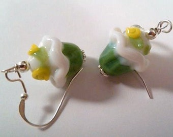 Sterling silver wired green with flowers cupcakes lampwork earrings
