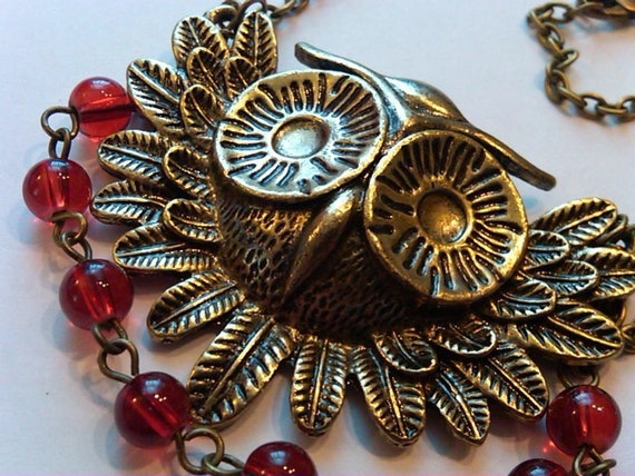 CLOSEOUT OOAK Hand wired gorgeous large antique brass owl with red glass beads necklace