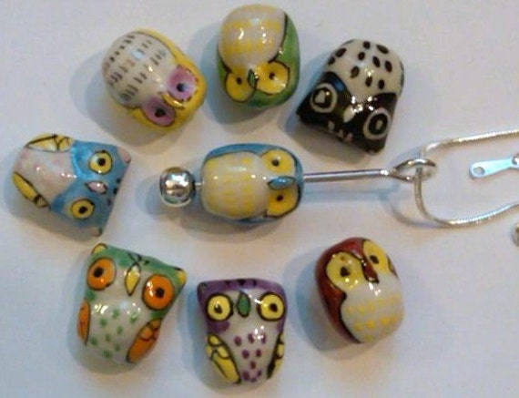 8 Large Porcelain Owl Beads on an interchangeable necklace