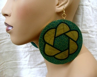 Green Earth Large Round Earrings