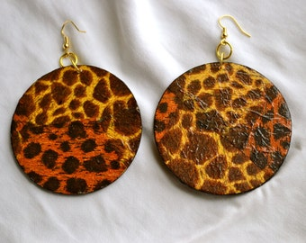 Three Inch Leopard Print Earrings